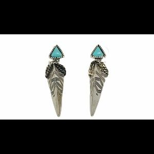 Redwood Silver and Turquoise Triangular Earrings